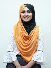 Turban Soft Knitted Icra Double Shaded Instant Hijab In Black And Orange