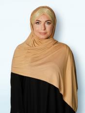 100% Polyster Lycra Turban Style Instant Hijab With Glittering Band In Beige And Golden