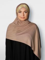 100% Polyster Lycra Turban Style Instant Hijab With Glittering Band In Dark Beige And Golden