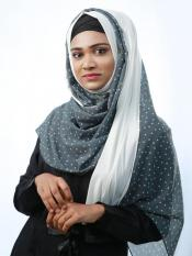 100% Polyster And Lycra Double Shaded Stole With Polka Dots In Grey And White