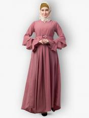 Nida Matte Abaya With Umbrella Flare And Bell Sleeves In Puce Pink