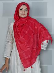 Premium Cotton Stole With Box Pattern And Tessel Work In Red