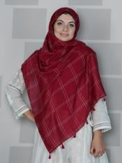 Premium Cotton Stole With Box Pattern And Tessel Work In Maroon