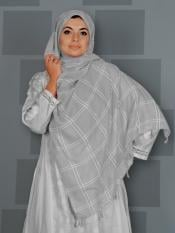 Premium Cotton Stole With Box Pattern And Tessel Image
