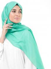 100 %  Cotton Voile Scarf In Vivid Green