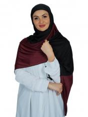 100 % Polyester Lycra Double Shade Stole In Dark Maroon And Black