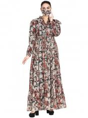 Chiffon Modest Dress And Shantoon Lining With Elasticated Sleeves In Multi