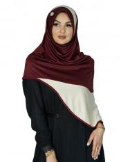 Inara Instant Hijabs In Maroon And Cream Image