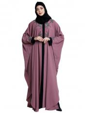 Nida Matte Front Open Kaftan With Embroidery Work In Puce Pink