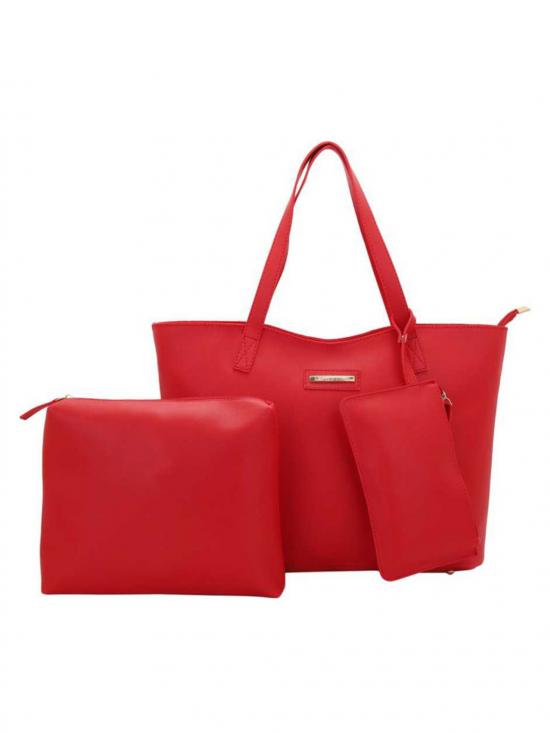 Cutting Synthetic  Women Tote - Red
