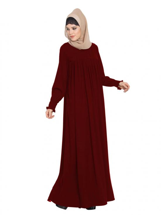 Abaya in Nida Matte with a Perfect Balance in Maroon