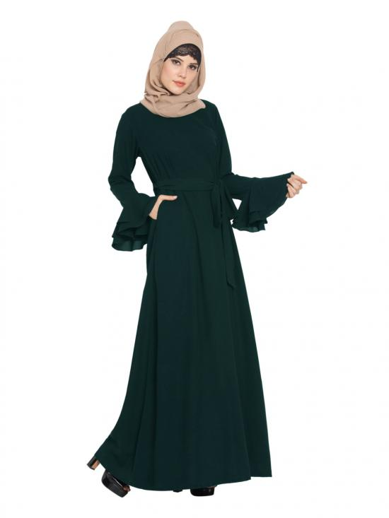 Nida Matte Abaya with Double Layers of Bell Sleeves and Matching Belt in Green