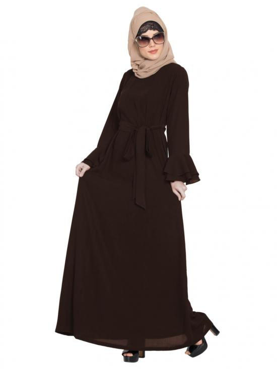 Nida Matte Abaya with Double Layers of Bell Sleeves and Matching Belt in Brown