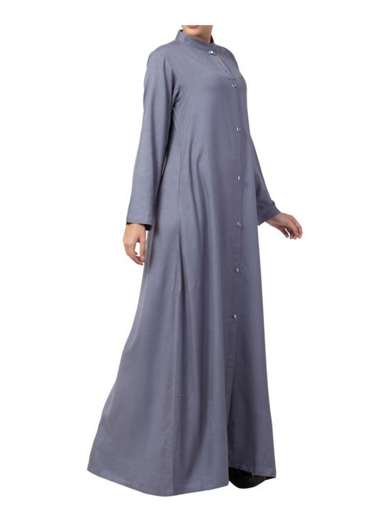 Cotton Front Open Abaya in Grey