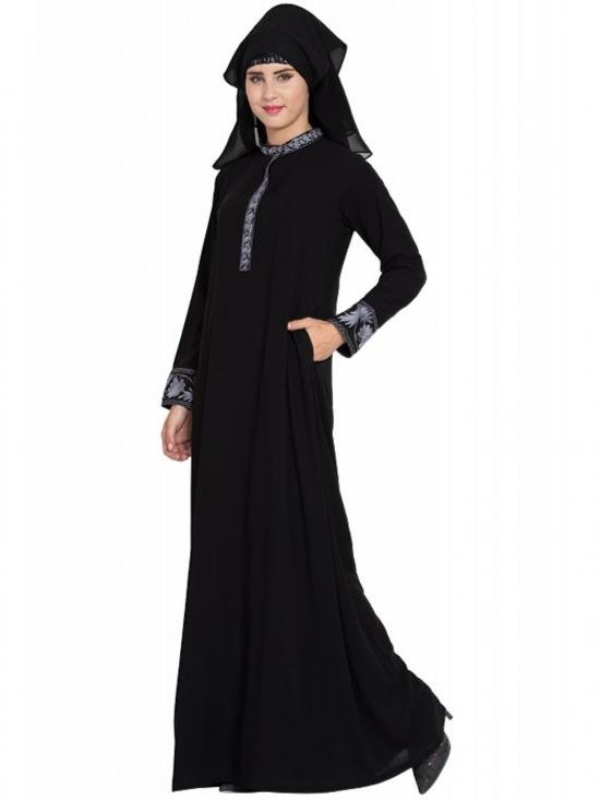 Nida Matte Embroidered Burqa with Triple Layered Naqaab & Nose Piece in Black