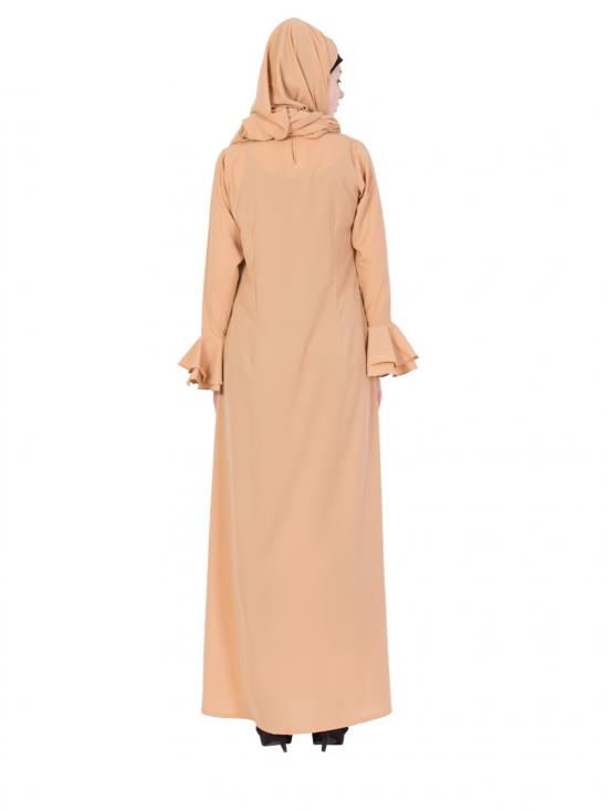 Nida Matte Abaya with Double Layered Bell Sleeves in Beige