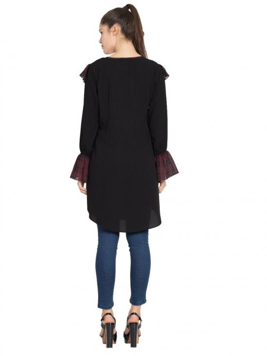 Nida Matte Designer Kurti with Contrast Ruffles and Bell Sleeves in Black