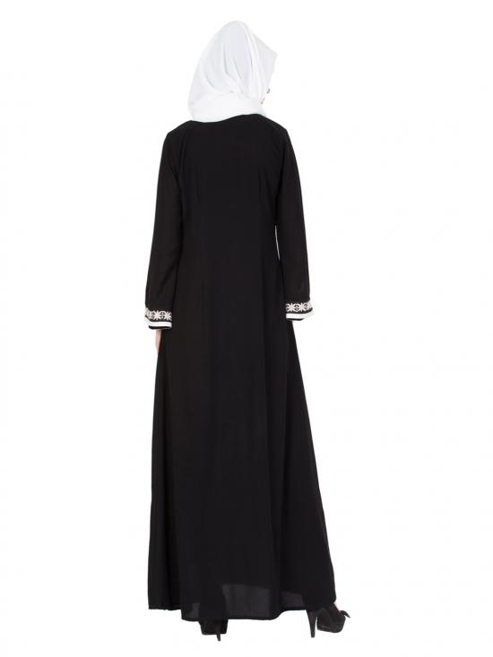 Nida Matte Embroidered Front Open Abaya in Black and White