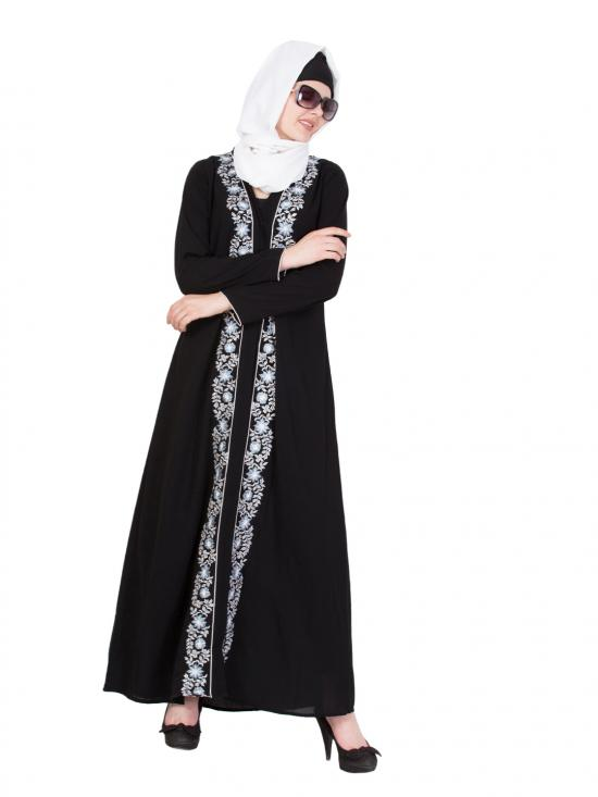 Nida Matte Embroidered Front Open Abaya in Black and Multi