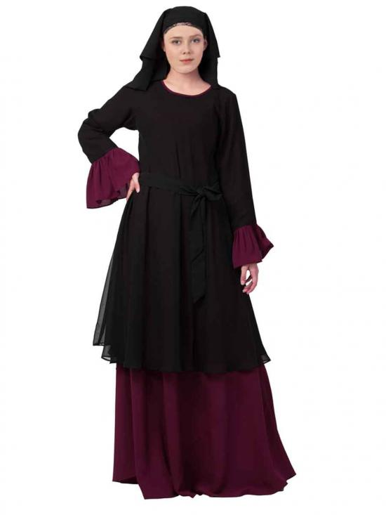 Dual Layer Modest Abaya With Bell Sleeves In Black And Wine