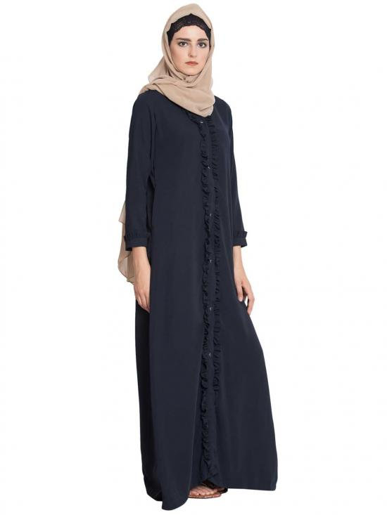 Nida Matte Rukna Front Open Abaya With Frills on Panels and Sleeves in Navy Blue
