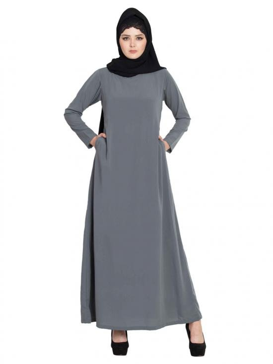 Nida Matte Simple A line Abaya With Side Pockets in Grey
