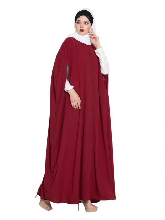Nida Matte Front Open Cape with Inner Abaya in Maroon and Off White