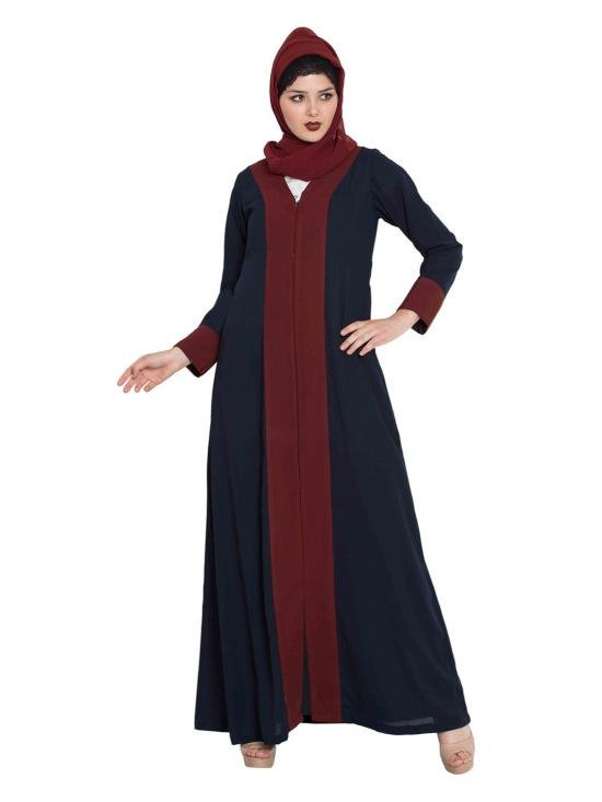 Nida Matte Dual Colour Front Open Abaya in Blue and Maroon