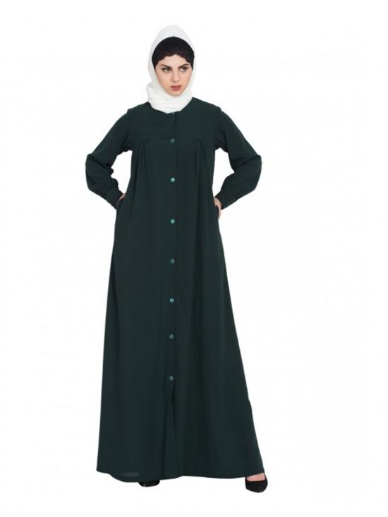 Nida Matte Front Open Abaya with Ruffles on Yoke and Cuffs In Bottle Green