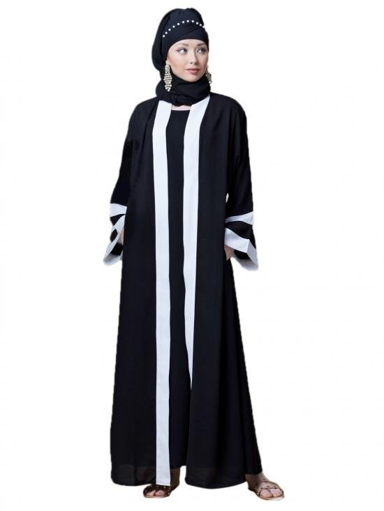 Polyester Crepe contrast band with inner Dubai Kaftan In Black And White