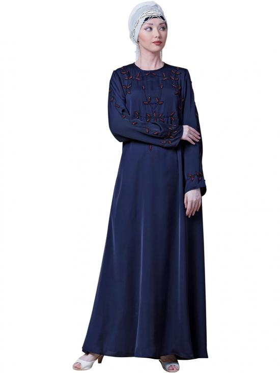 Satin Front And Sleeve With Hand Embroidered Party Abaya In Navy