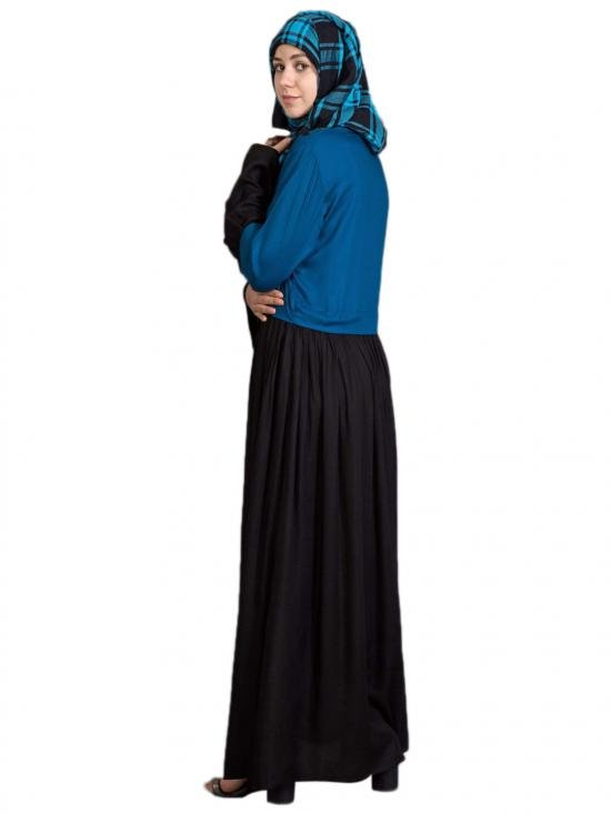 Crape Embroidered Party Abaya In Turquoise And Black