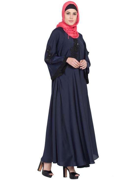 100% Polyester Satin Embroidered Patch Umbrella Abaya in Navy