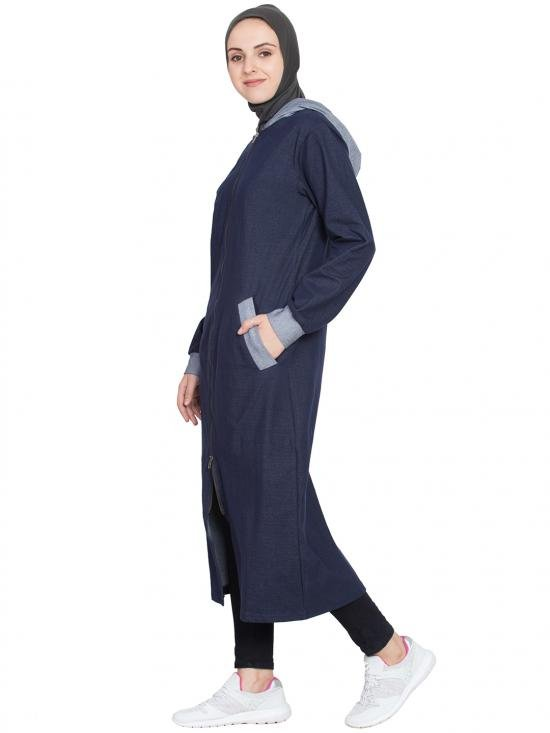 Cotton and Spandex Knits Front Open With Hood Jersey Sports Abaya in Navy Blue