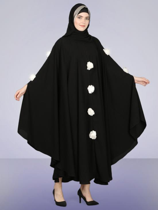 100% Polyester Crepe Irani Kaftan With White Flower In Black