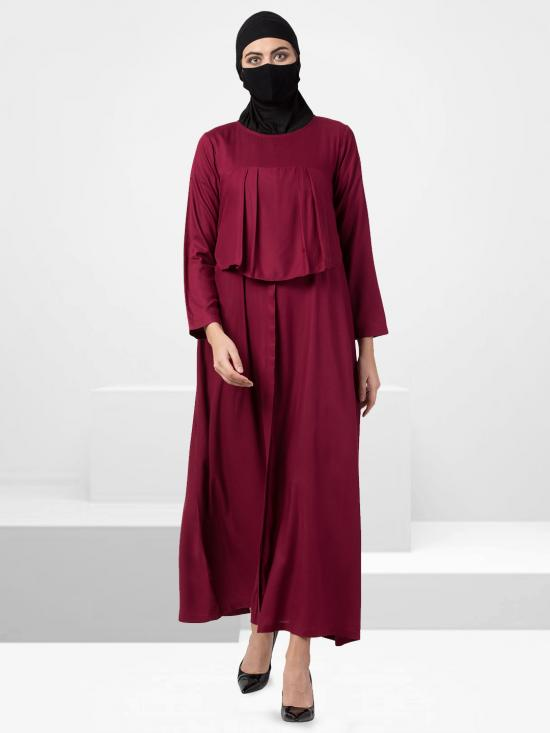 Rayon Modest Abaya With Extra Designer Layer In Maroon