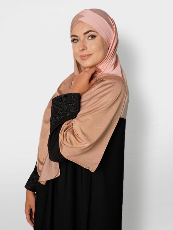 Soft Knitted Lycra Turban Style Double Shade Instant Hijab In Beige And Baby Pink