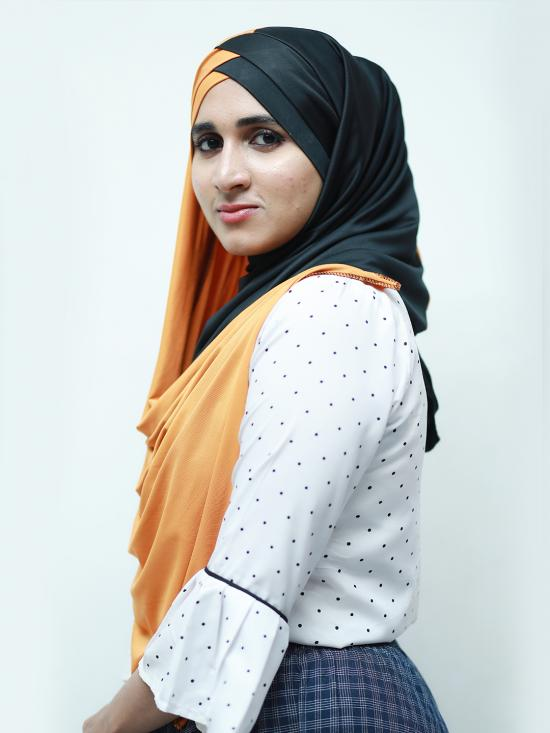 Turban Soft Knitted Lycra Double Shaded Instant Hijab In Black And Orange