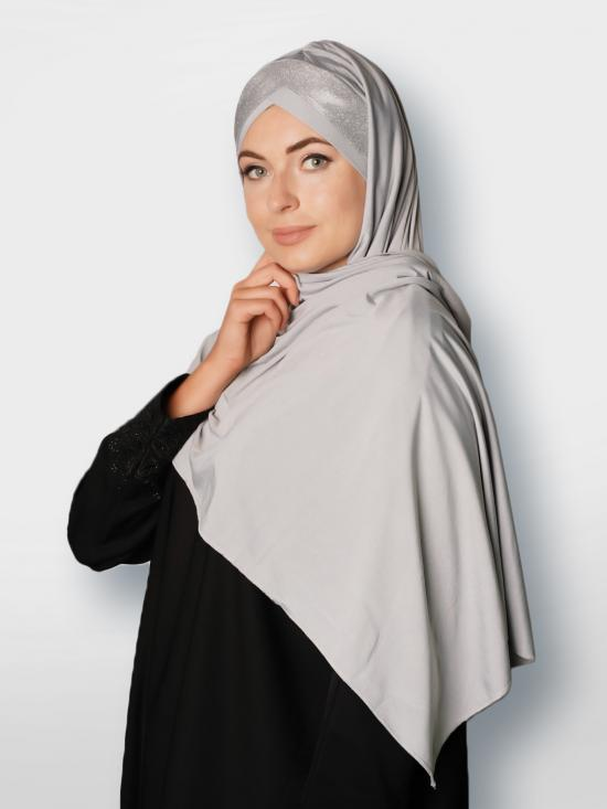 Soft Knitted Lycra Turban Style Instant Hijab With Glittering Band In Ash And Silver