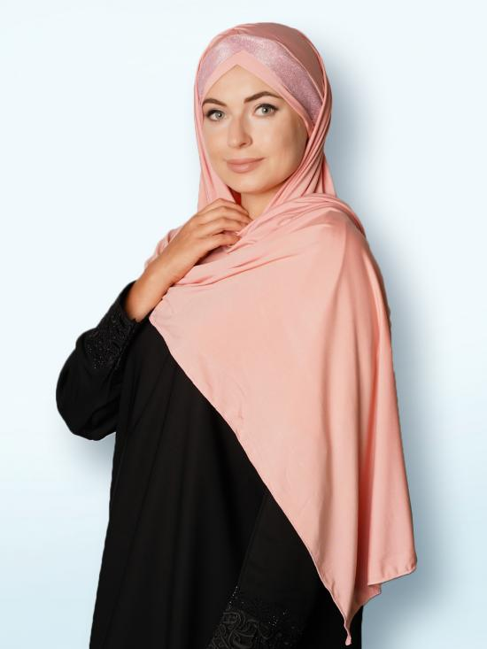 Soft Knitted Lycra Turban Style Instant Hijab With Glittering Band In Baby Pink And Pink