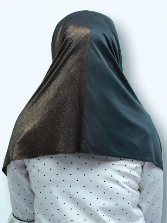 Turban Soft Knitted Lycra Double Shaded Instant Hijab In Brown And Black