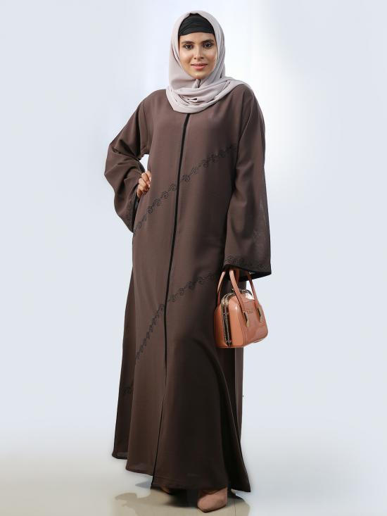 Korean Masha Crepe Simple Abaya With Stone Work And Piping On Front And Sleeve In Brown