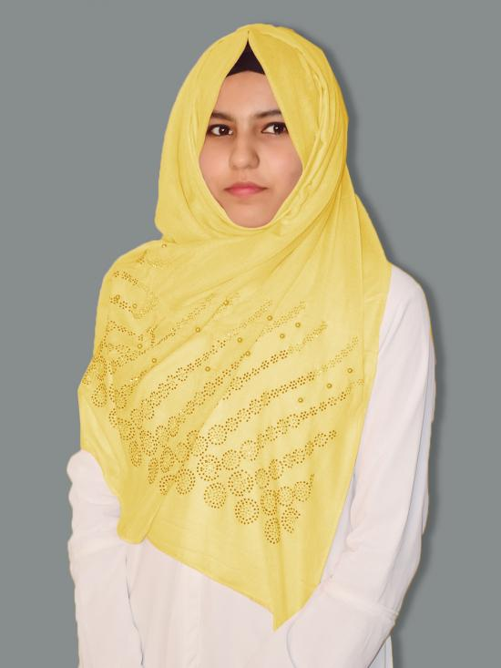 Cotton Mix Stole With Drip Drop Stone Work And Pearl In Yellow