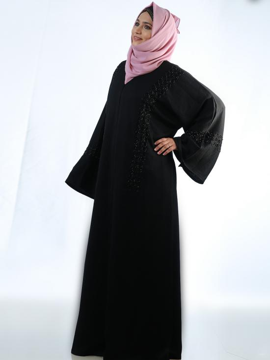 Korean Zoom Free Size Abaya With Crystal Hand Work On Front In Black