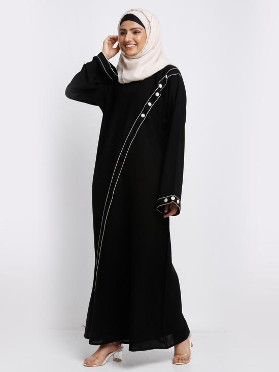 Korean Masha Crepe Simple Free Size Abaya With Piping Work And Cloth Button On Front And Sleeve In Black