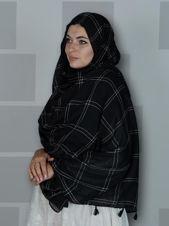 Premium Cotton Stole With Box Pattern And Tassel Work In Black