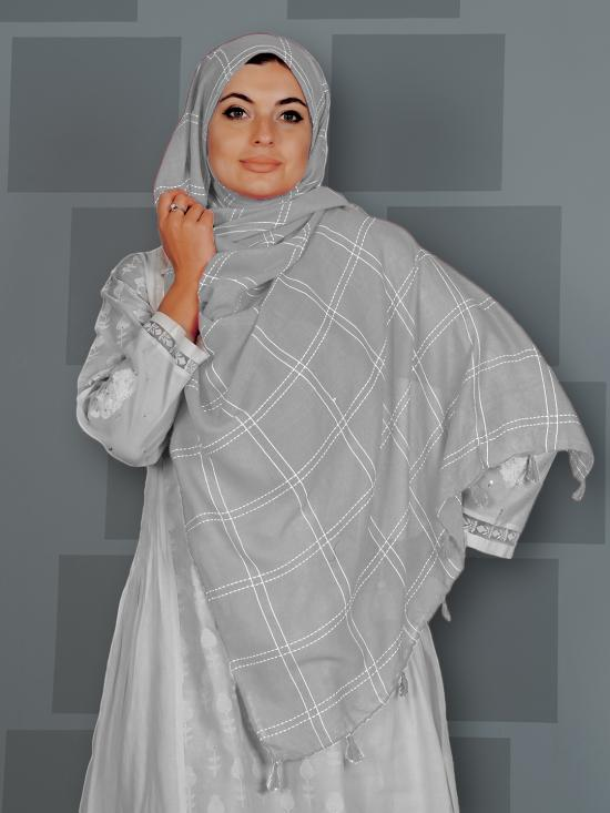 Premium Cotton Stole With Box Pattern And Tassel Work In Ash