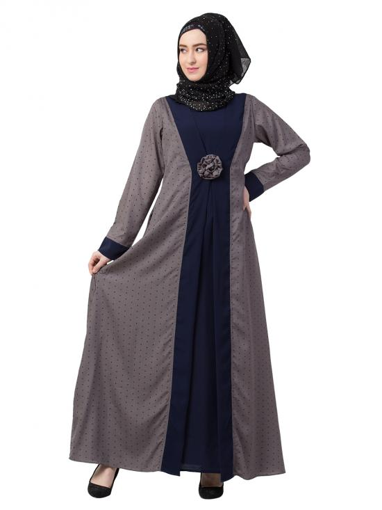 Nida Matte Layered Abaya With Polka Dotted In Grey And Navy Blue