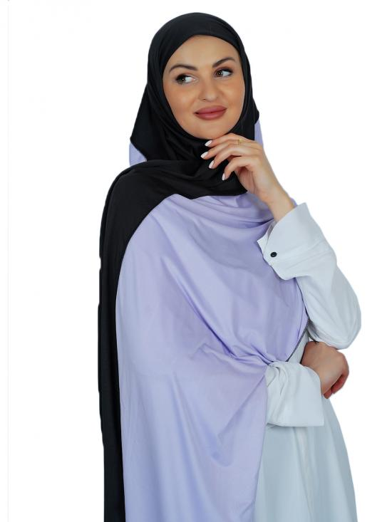 Lycra Double Shade Stole In Black And Lavender