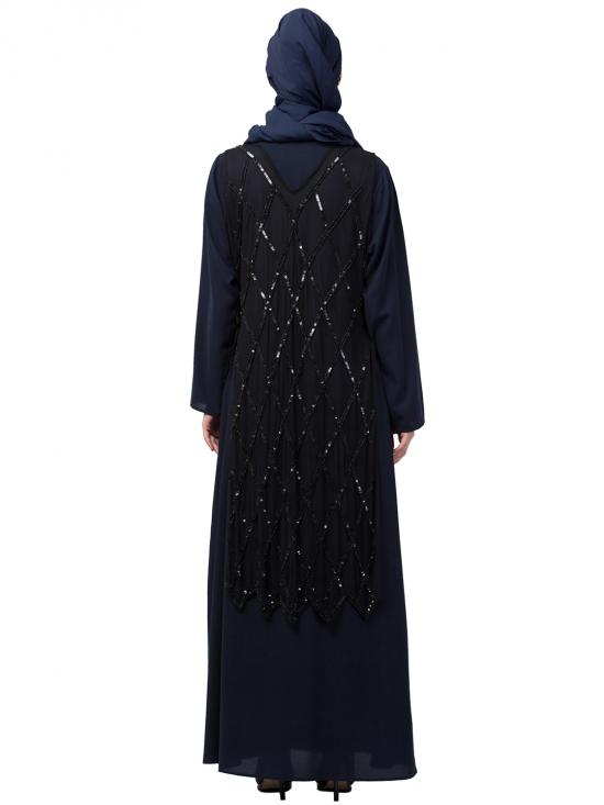 Nida Matte Abaya With Diamond Cut Fully Beads Work On Front And Back In Black And Navy Blue
